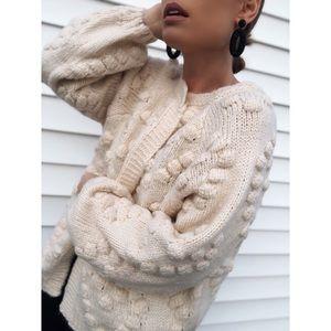 Cream Pom Pom Puff Sleeve Cardigan Sweater - Jacey